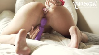 Babe Uses Glass Dildo In Her Ass To Orgasm - NoFaceGirl
