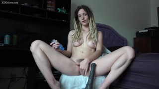 Stretching my pussy with my biggest toy - Bad Dragon Horse Cock