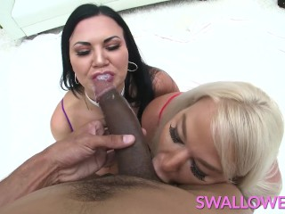 SWALLOWED Jasmine Jae and London River swallow a huge cock