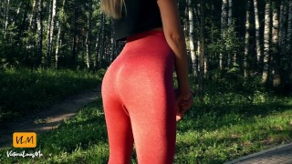 Fitness girl walking in yoga pants and giving a public blowjob in car