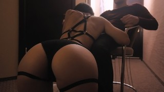 Hot girl with great body dancing in her sexy lingerie and riding dick