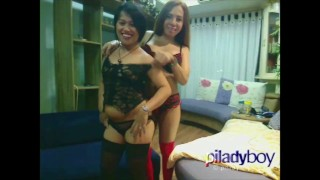 Ladyboy from Phillipines fucking an Asian Chubby woman hardcore