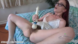 Ivy Addams playing with her hairy wet pussy & squeezing her ass hard @ ATK