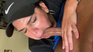 Tattooed Latina sucks gags and chokes on cock best sloppy blow job ever