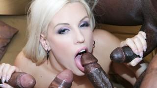 Horny blonde interracial anal gandbang then swallows cum like a slut