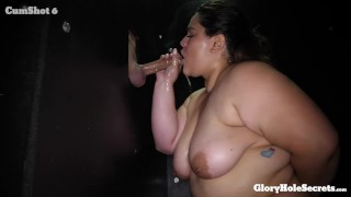 BBW eats 10 cocks and CUM in the Gloryhole