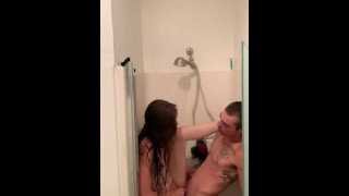 Shower sex with a rough ending