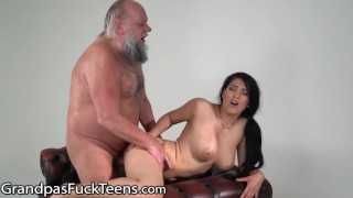 GrandpasFuckTeens Old Guy Barely Pulls Out of Busty Teen in Time