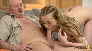 DADDY4K. Old man gets acquainted with sons girlfriend and fucks her