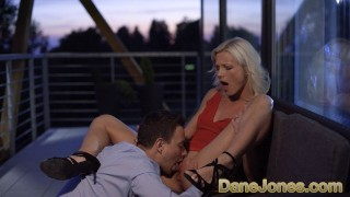 Dane Jones Petite blonde Zazie Skymm outdoor oral and passionate sex