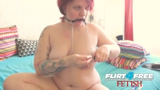 Linda Jolie on Flirt4Free Fetish - Chubby BDSM Babe w Nipple Clamps and Gag