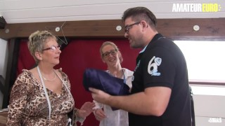AmateurEuro - Busty German Mature Babes Ride A Thick Cock