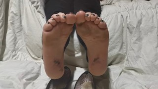 Wife smelly dirty feet & filthy soles after work