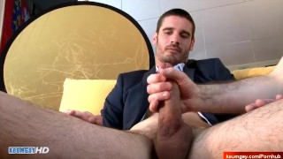 Beautiful straight salesman serviced his ass in spite of him by 2 guys