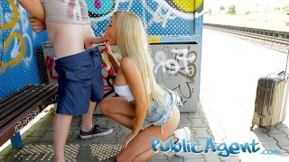 Public Agent Train station public sex with beautiful woman