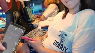 my FRIEND controll my bluetooth dildo on the public train untill I...