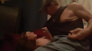 Step dad fucking step daughter on couch on a nite of partying hard