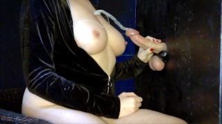 Edged Gloryhole Cock Explodes Onto Tits (CUM ROPES)
