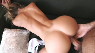 Gorgeous girlfriend fucked hard on the sofa and squirt! Amateur LeoLulu