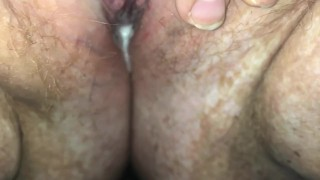 BBW rubs wet creamy pussy