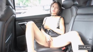 Cute Asian Girl fingers her shaved pussy until orgasm in her car (Kylie_NG)