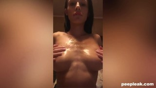 Busty Amateur Oiled Up and Ready to Fuck