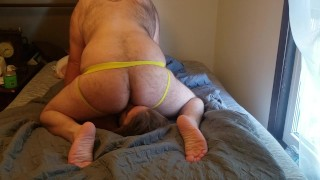Submissive slut struggles for air under musky man-butt