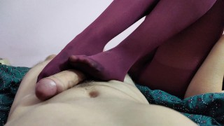 girl in red tights is doing the best footjob/handjob (4k)/cum on legs