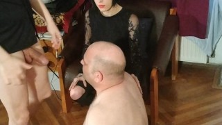 Beth Kinky - I help Dad to fuck this slave's mouth hard HD