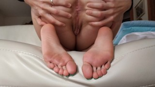 Tori's feet soles with ass anal spread solo