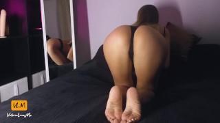 Sexy young girl riding big dildo