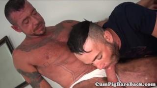 Jock getting ass fucked in bear threesome