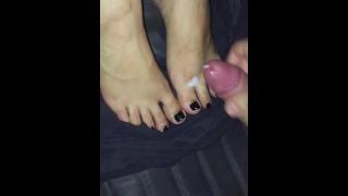 cum feet black toes