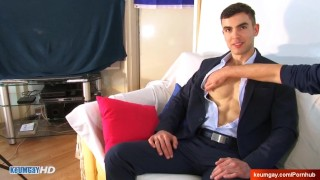Handsome banker gets wanked his big cock in spite of him : Aleksander