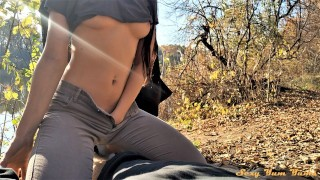 Blowjob on a picnic and almost choked on sperm POV - Sexy Yum Yums
