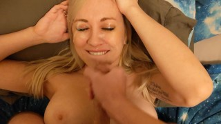 Face Fucking big titty milf gets covered in cum