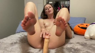 Sensual blowjob & footjob before fucking and begging for cum on my toes!!