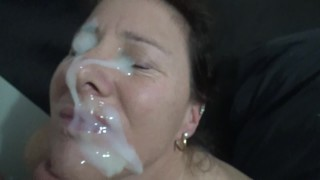 Monster facial, Chloe gets her face covered with hot cum