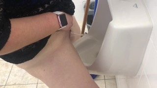 MILF stands and pees in mens urinal