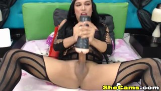 Shemale Jerking Her cock into Vagina Toy