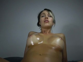 Big Titty Oiled Teen Gets A Mouthful And Swallows!!!