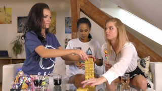 Eva, Isabel and Chrissy Play Jenga and with their New Playstation 5 at home