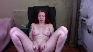 Redhead show holes and play - webcam show
