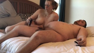 Pregnant Hand job/cum on tits and belly