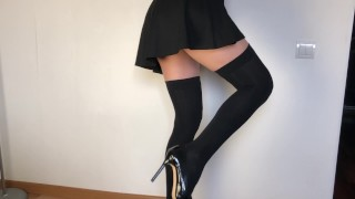 Amateur hard fucked hot girlfriend in stockings. Custom video