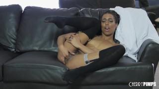 Classy Ebony Babe Kira Noir Enjoys Solo Fingering Her Tight Pussy