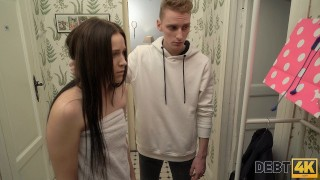 Debt4k. Slender miss sucks dick and has anal sex with rude collector