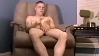 Gay amateur wanking his boner alone before busting a nut