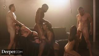 Deeper. Angela, Emily and Kira Sex Overdose in Epic Gangbang