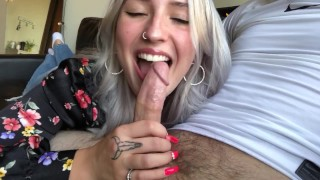 Beautiful Blonde Gives Sensual Blowjob & Takes The Whole Load!